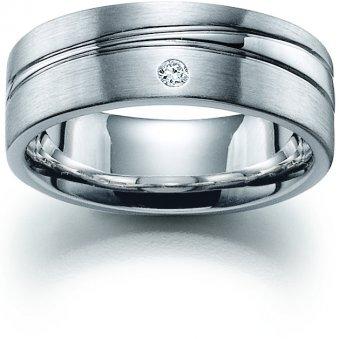 Ring aus rhodiniertem Silber mit einem Brillanten