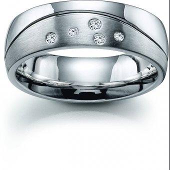 Ring aus rhodiniertem Silber mit 5 Brillanten