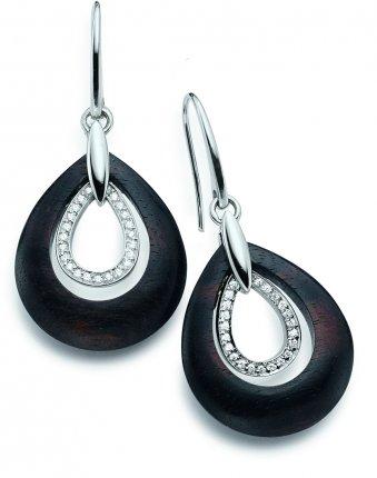 Ohrhänger aus rhodiniertem Silber und Edelholz mit Zirkonias
