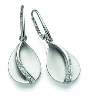 Ohrhänger aus rhodiniertem Silber mit Zirkonias