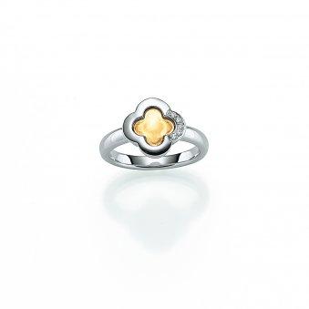 Ring aus rhodiniertem und gelbgoldplattiertem Silber mit Zirkonias