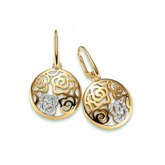 Ohrhänger aus gelbgoldplattiertem Silber mit Zirkonias