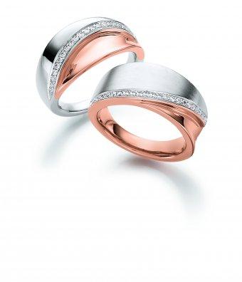 Ringe aus rhodiniertem und roségoldplattiertem Silber mit Zirkonias