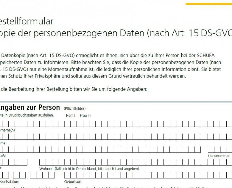 Schufa Auskunft kostenlos Hamburg sofort - PDF-Formular
