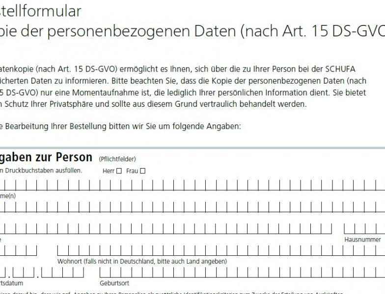 Schufa Auskunft Düsseldorf sofort kostenlos - PDF-Formular