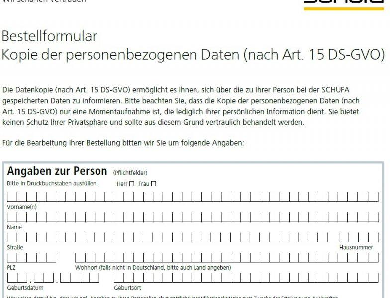 Schufa Auskunft kostenlos Berlin - PDF-Formular