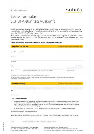 Bestellformular Schufa Bonitätsauskunft
