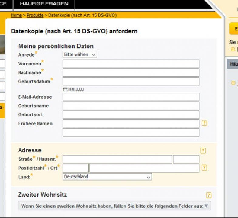 Schufa Auskunft Essen kostenlos online Formular