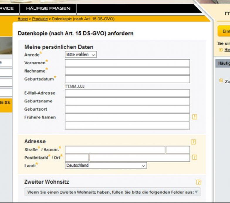 Schufa Auskunft kostenlos Hamburg sofort online Formular