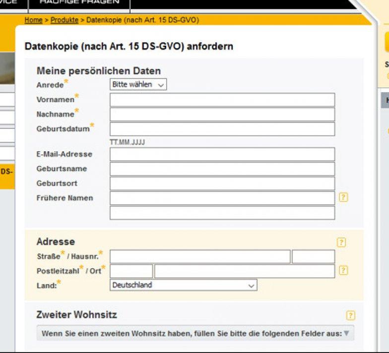 Schufa Auskunft Hamburg sofort online Formular