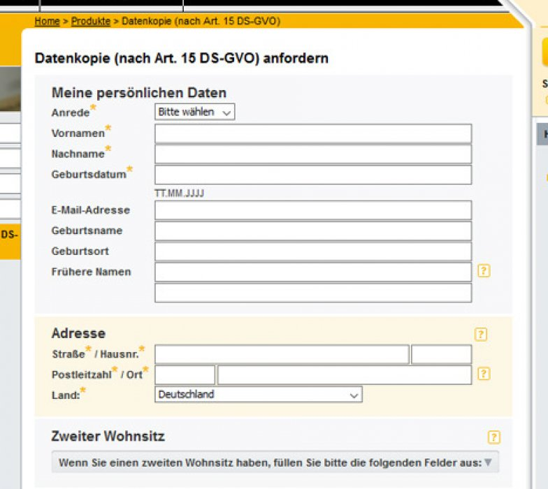 Schufa Auskunft Düsseldorf sofort online Formular