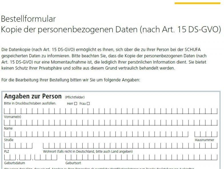 Schufa Auskunft Düsseldorf sofort - Bestellformular im PDF-Formular