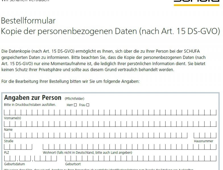 Schufa Auskunft Hamburg sofort - Bestellformular im PDF-Formular