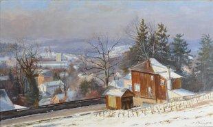 Winterthur vom Goldenberg, 1973, Öl 22 x 36 cm