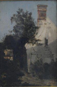 Camille Corot, Vue d'une maison, Öl auf Holz, 24.5x 16.5 cm
