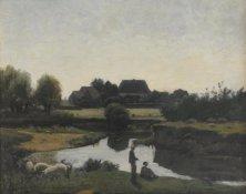 Henri Joseph Harpignies, Le petit pêcheur, Öl auf Leinwand, 29.5 x 37 cm