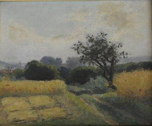 Nicolas Auguste Laurens, Chemin dans les champs, Öl auf Leinwand, 22 x 27 cm