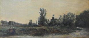 François Daubigny, Au bord de l'Oise, Öl auf Leinwand, 15.5 x 34.5 cm