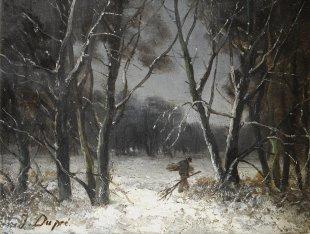 Jules Dupré, Forêt en hiver, Öl auf Holz, 19 x 24 cm