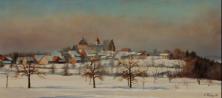 Kyburg, 1977, Öl 18 x 37.5 cm