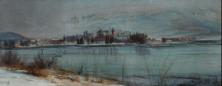 Winterabend bei Rapperswil, 1971, Aquarell auf Seide 11 x 27 cm